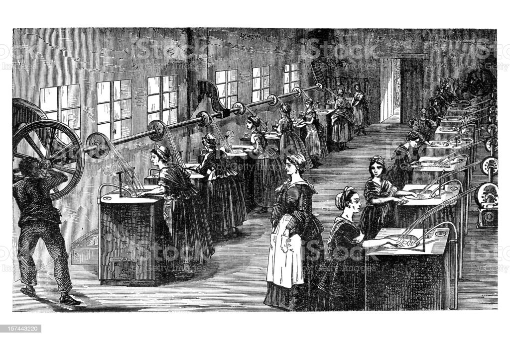 Engraving of factory producing silk royalty-free stock vector art