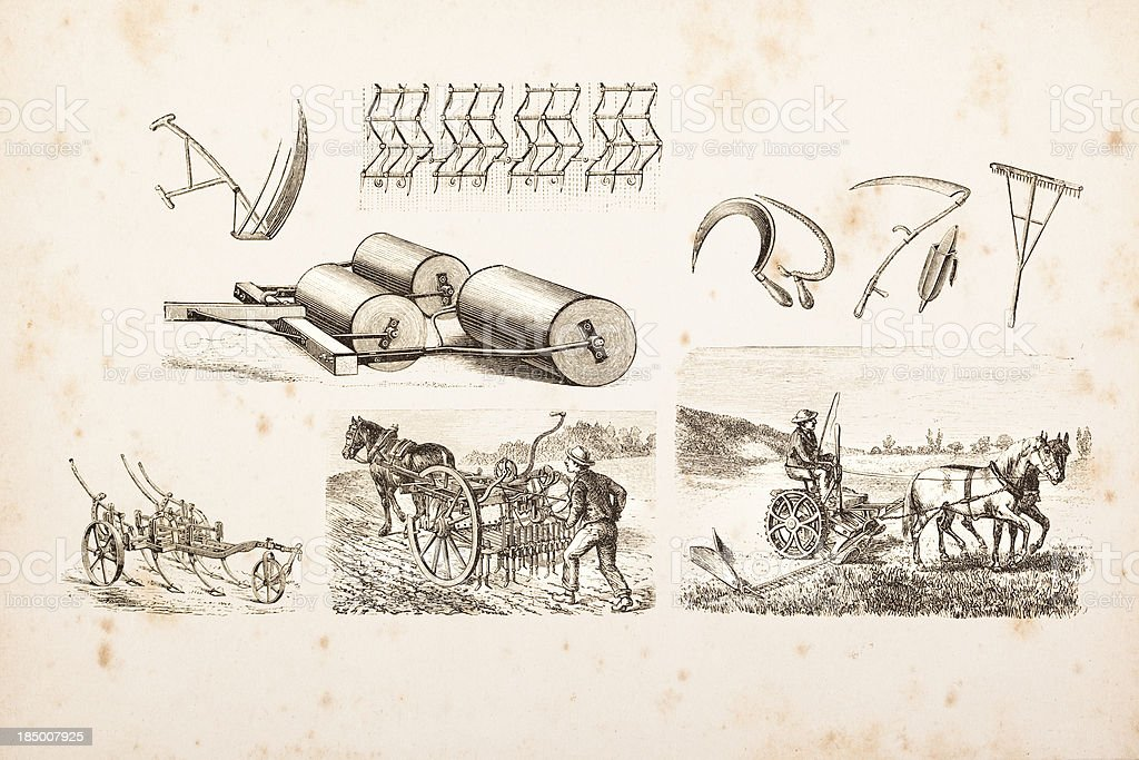 Engraving of farmer plowing a field and Agricultural tools vector art illustration