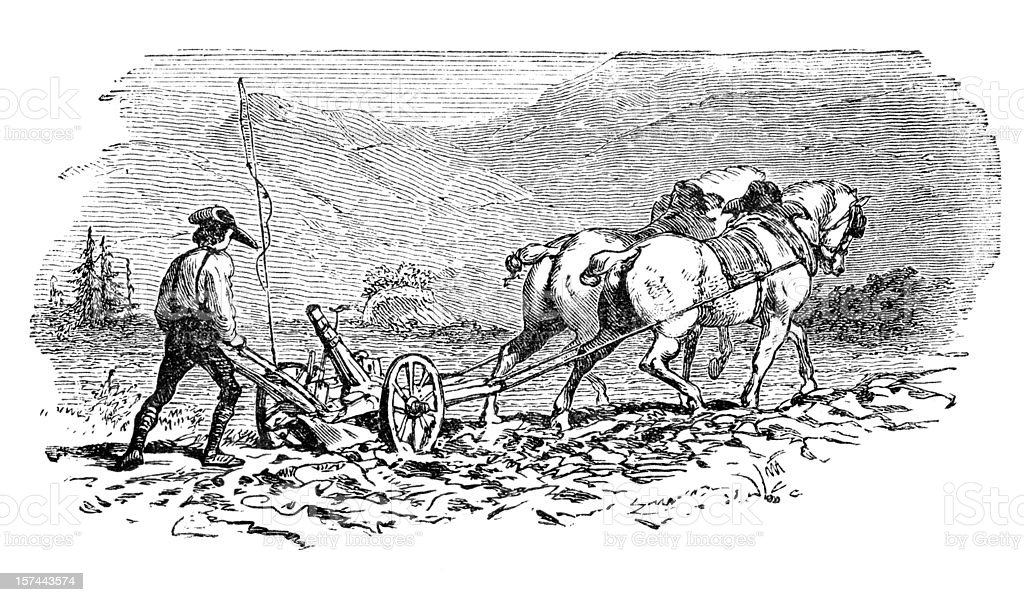 Engraving of farmer plowing a field with two horses vector art illustration