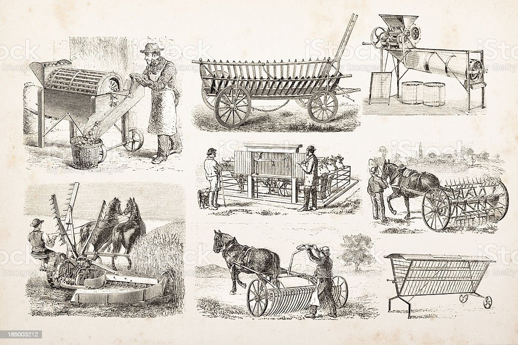 Engraving of farmer plowing and mowing a field vector art illustration