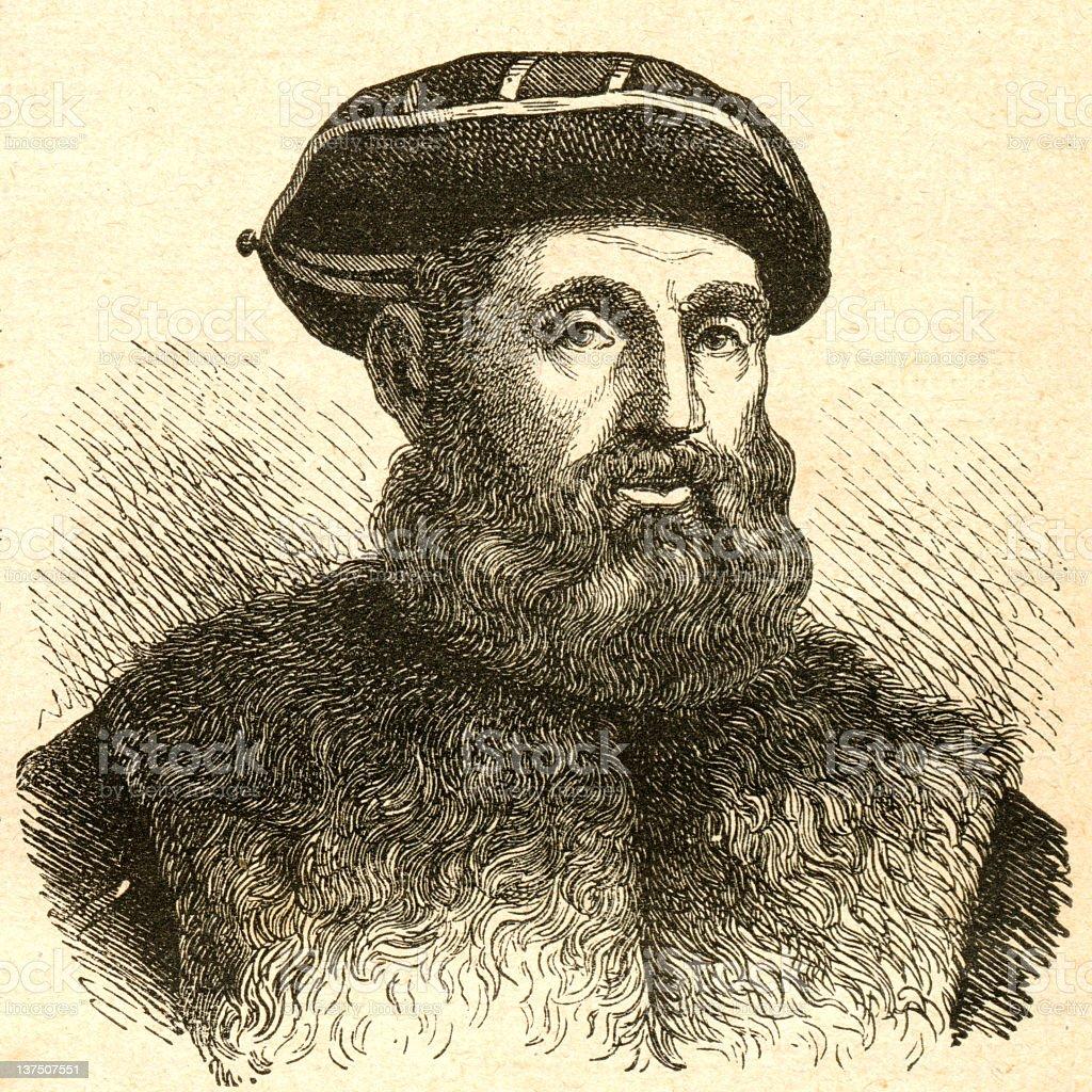 Engraving of Ferdynand Magellan royalty-free stock vector art