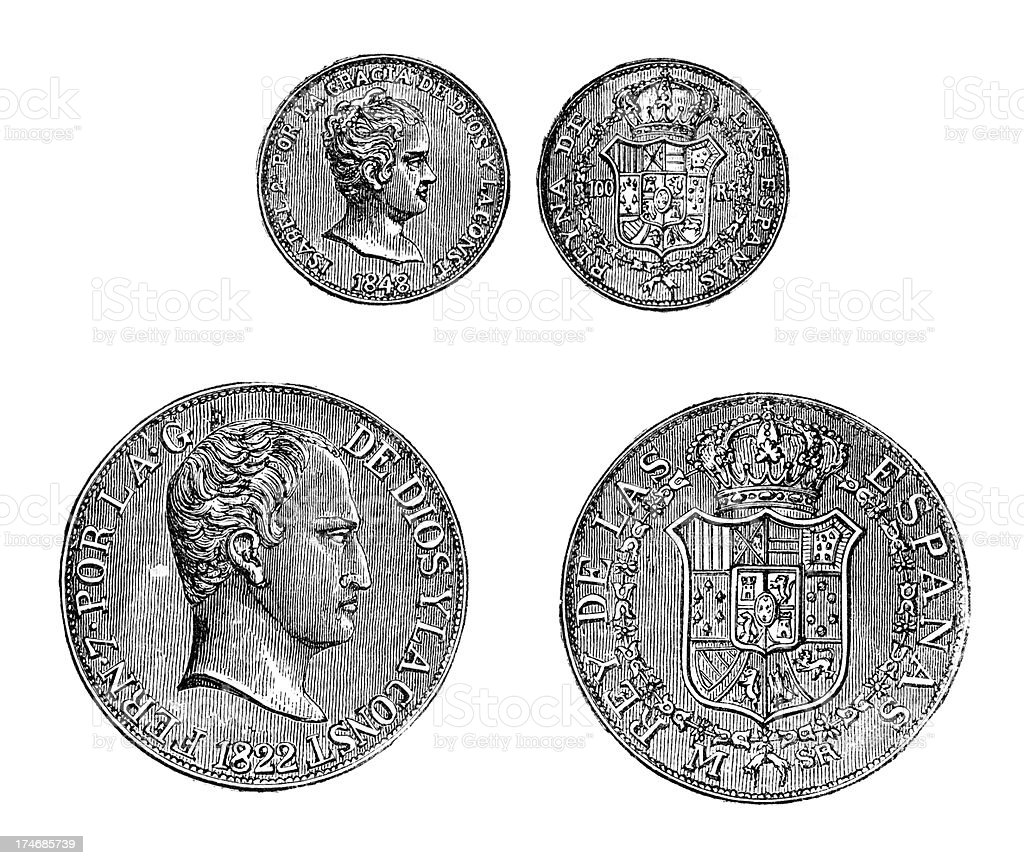 Engraving of four spanish coins royalty-free stock vector art