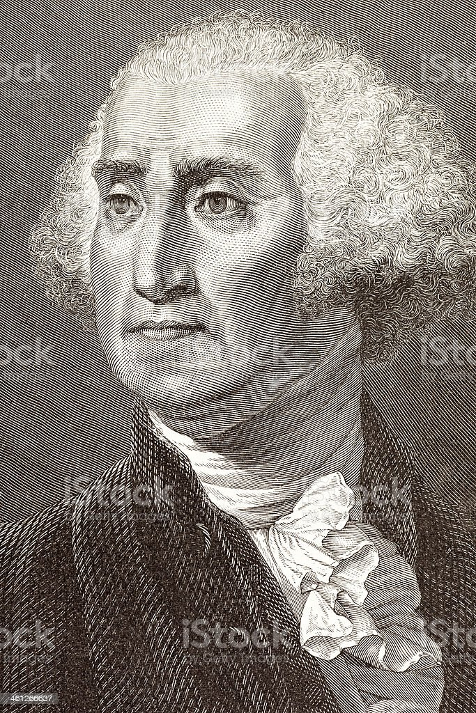 Engraving of George Washington from 1877 royalty-free stock vector art