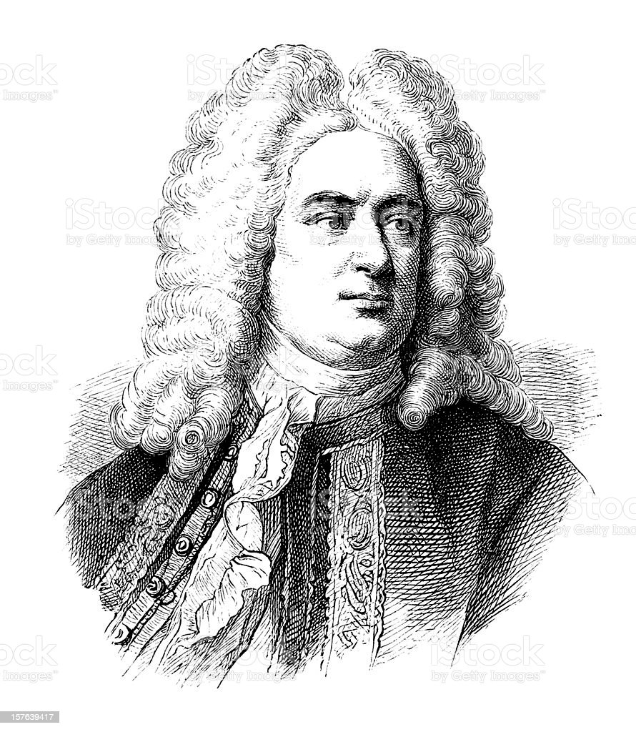 Engraving of german composer George Frideric Handel from 1870 royalty-free stock vector art