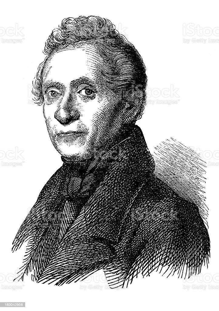 Engraving of german poet Joseph von Eichendorff from 1870 royalty-free stock vector art
