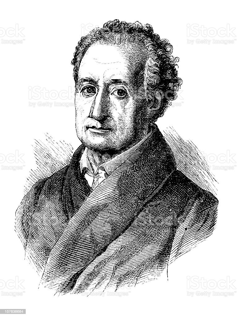 Engraving of german writer and philosopher Goethe from 1870 royalty-free stock vector art