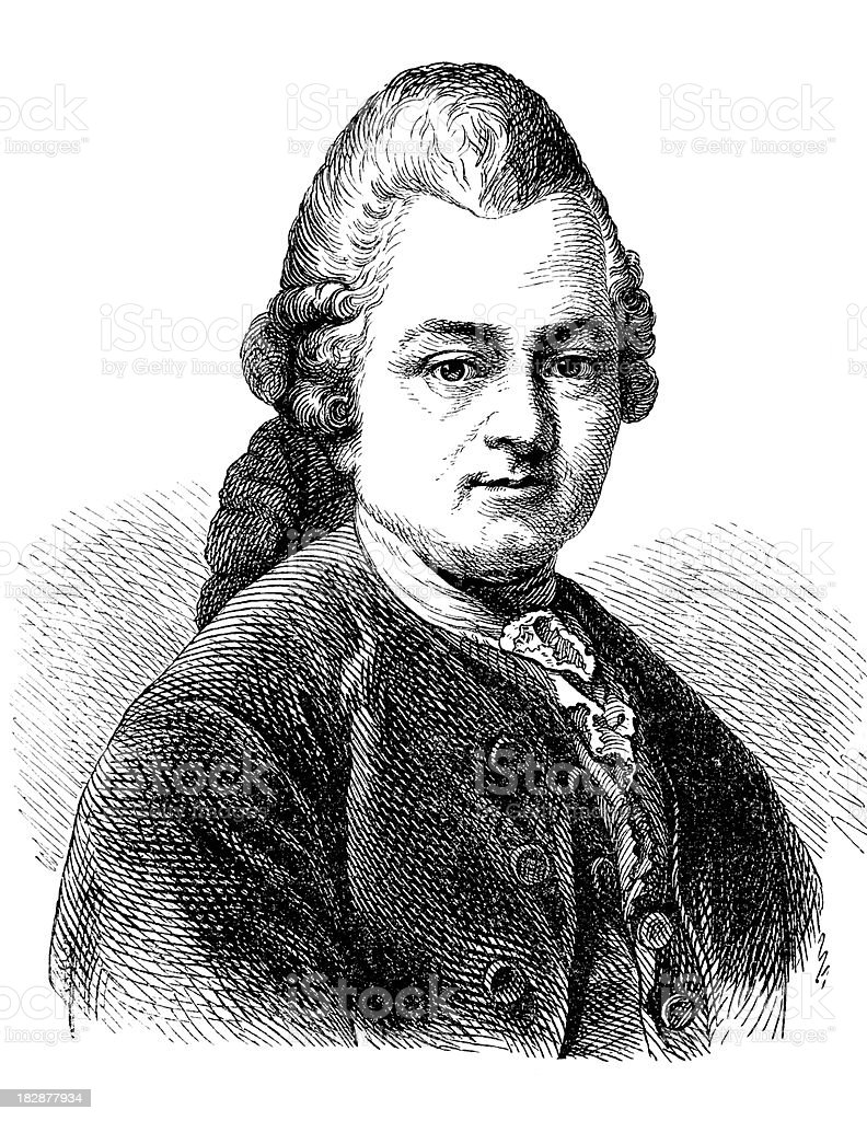 Engraving of Gotthold Ephraim Lessing from 1870 royalty-free stock vector art