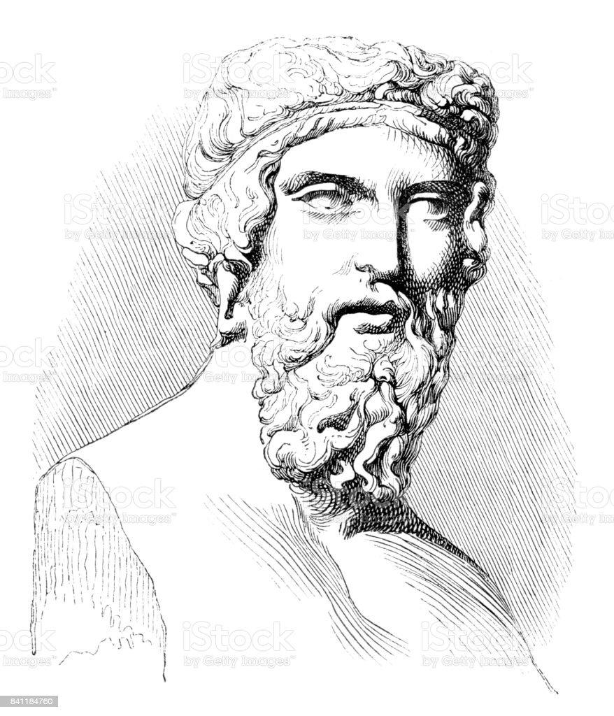 Engraving of greek philosopher Plato or Platon 1842 vector art illustration