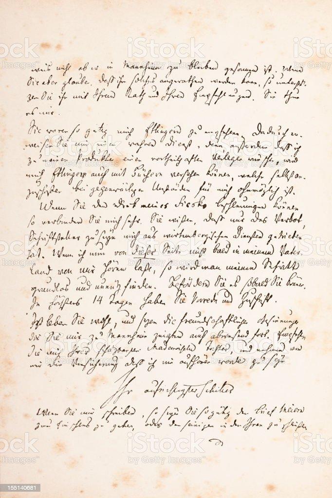 Engraving of handwritten letter from Friedrich Schiller 1782 royalty-free stock vector art