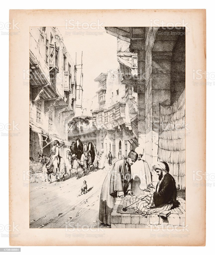 Engraving of Istanbul, Street view vector art illustration