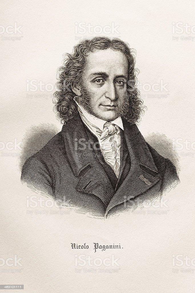 Engraving of italian composer Nicolo Paganini 1874 royalty-free stock vector art