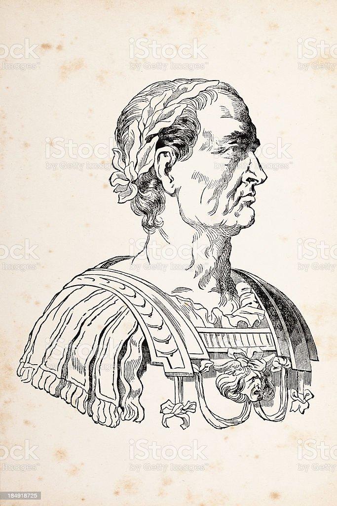 Engraving of Julius Caesar or Augustus Casus Octavianus 1837 royalty-free stock vector art