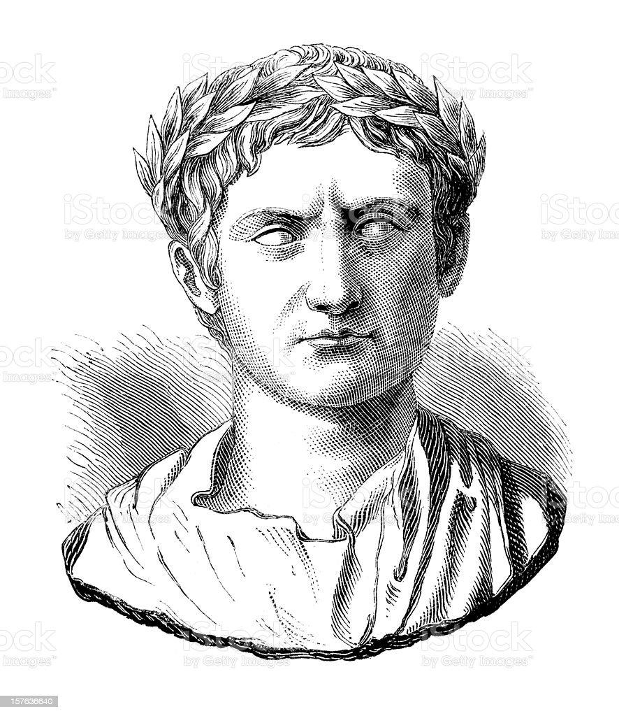 Engraving of Julius Caesar or Augustus Casus Octavianus vector art illustration
