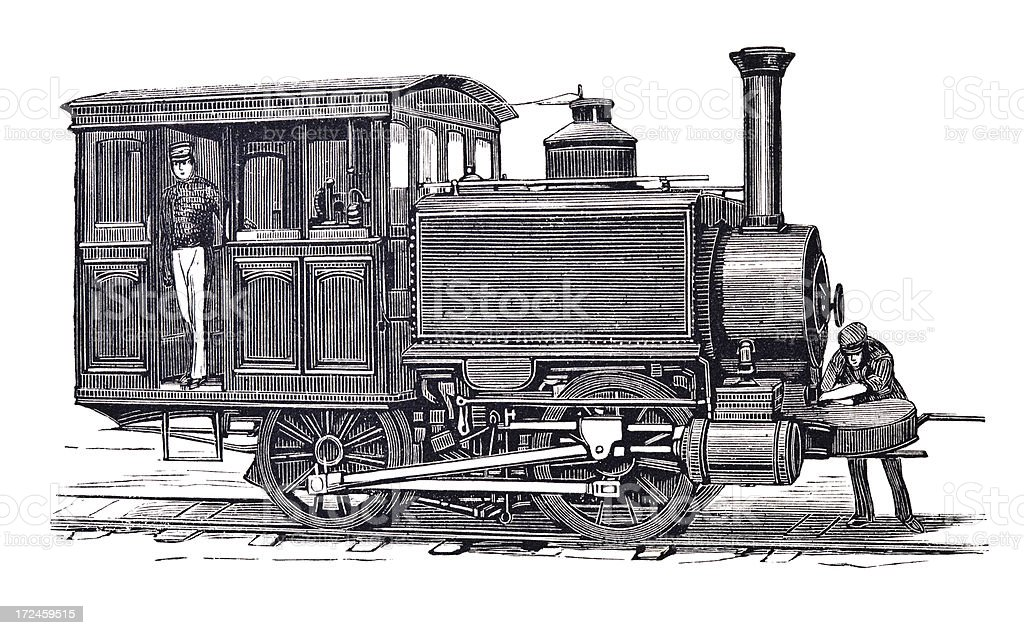 Engraving of locomotive in New York 1879 royalty-free stock vector art
