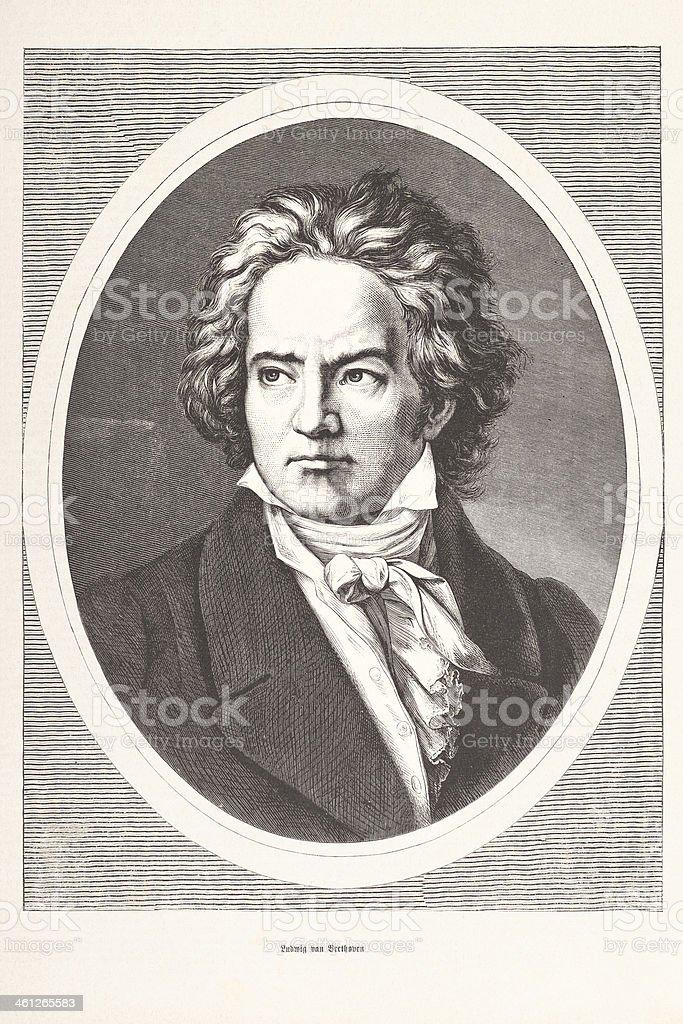 Engraving of Ludwig van Beethoven from 1877 royalty-free stock vector art
