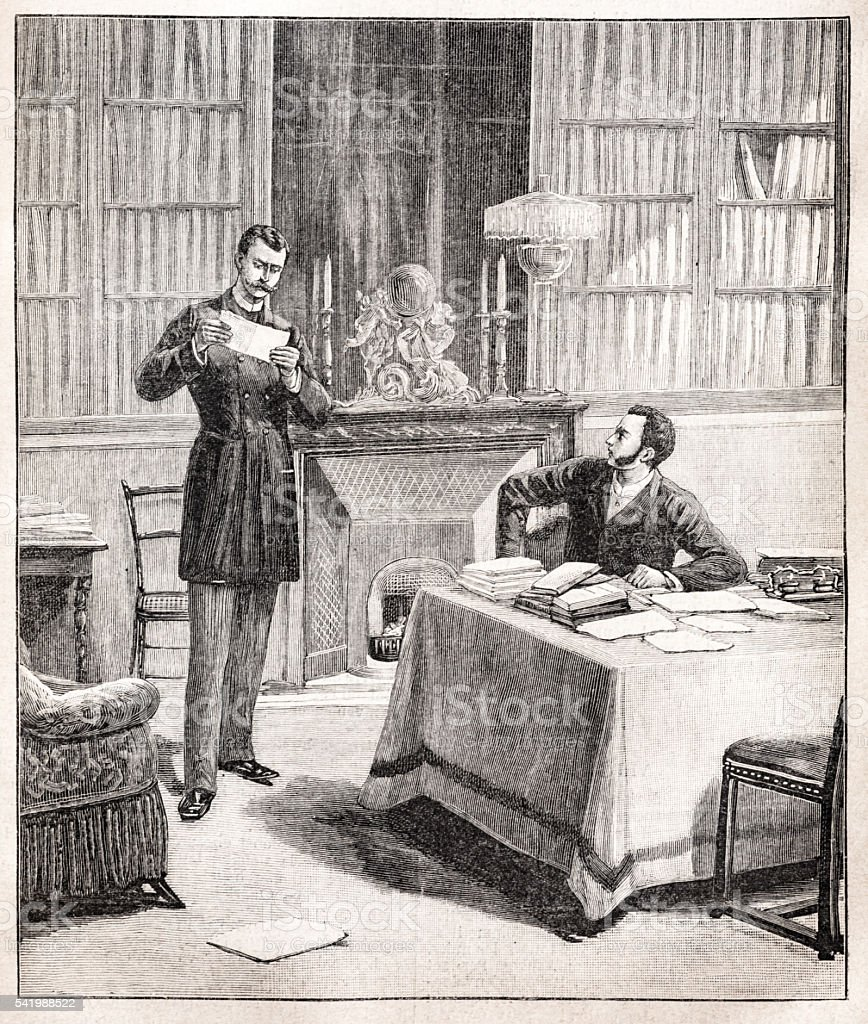 Engraving of Man reading a message in his library vector art illustration