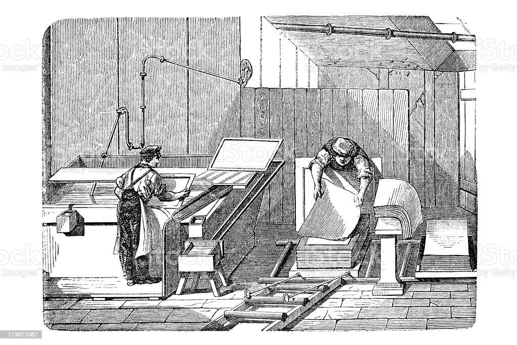 Engraving of men manufacturing handmade paper royalty-free stock vector art