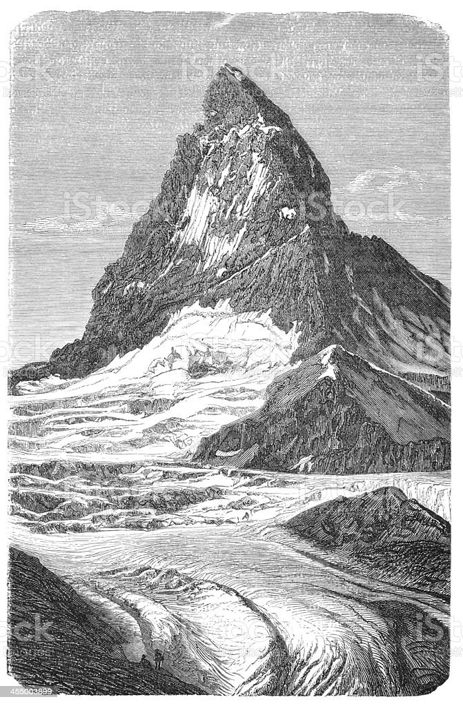 Engraving of mountain peak Matterhorn with glacier Furka vector art illustration