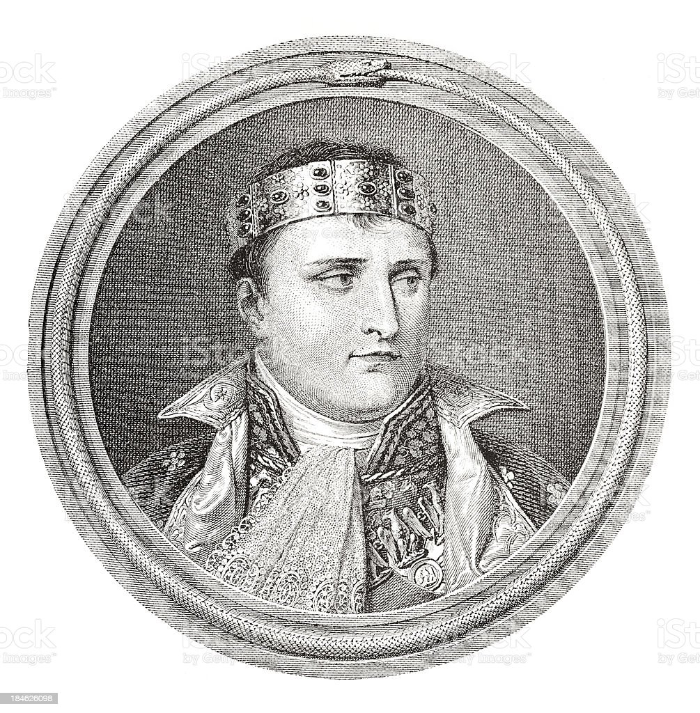 Engraving of Napolean Bonaparte from 1882 royalty-free stock vector art