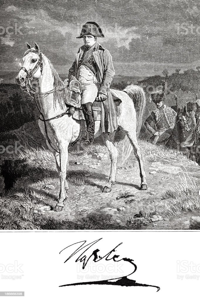 Engraving of Napolean Bonaparte on his horse Maréngo from 1882 royalty-free stock vector art