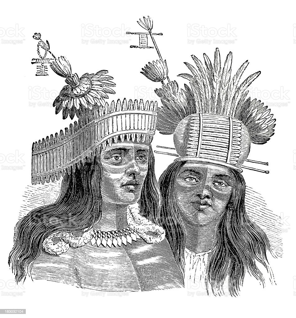 Engraving of native american from California 1870 vector art illustration