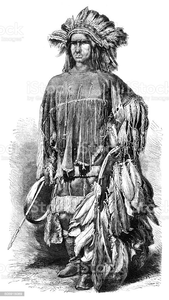 Engraving of native american Lipan apache from 1870 vector art illustration