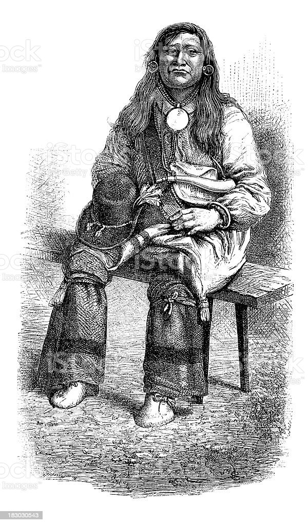 Engraving of native american shoshone from 1870 vector art illustration