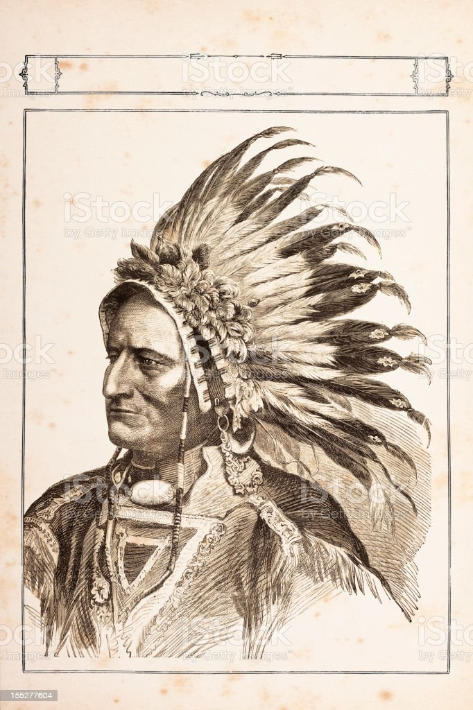 Engraving of native american tribal chief Sitting Bull 1881 vector art illustration