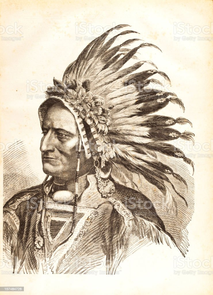 Engraving of native american tribal chief Sitting Bull 1881 vector art illustration