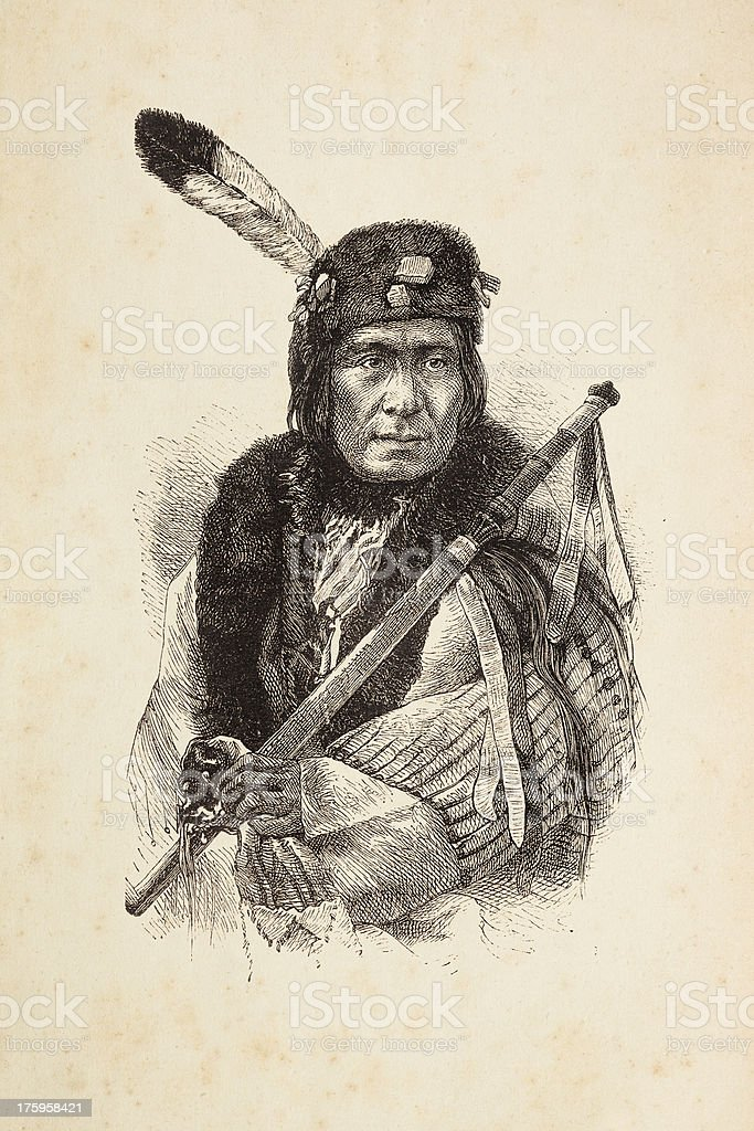 Engraving of native american tribal chief with calumet vector art illustration