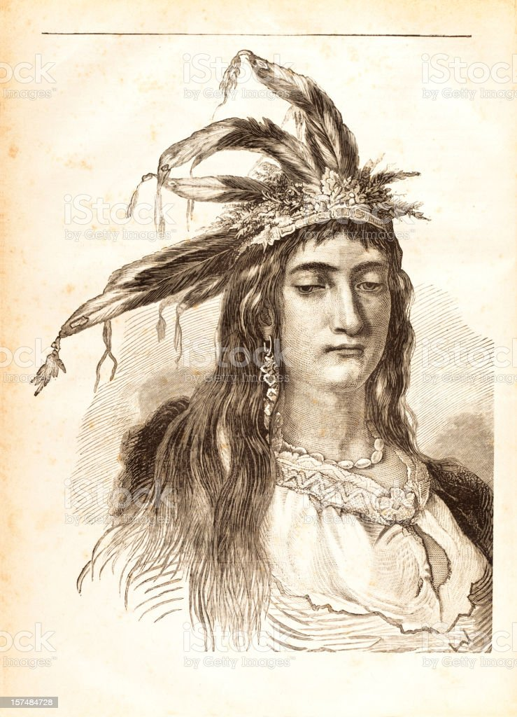Engraving of native american woman from 1881 vector art illustration