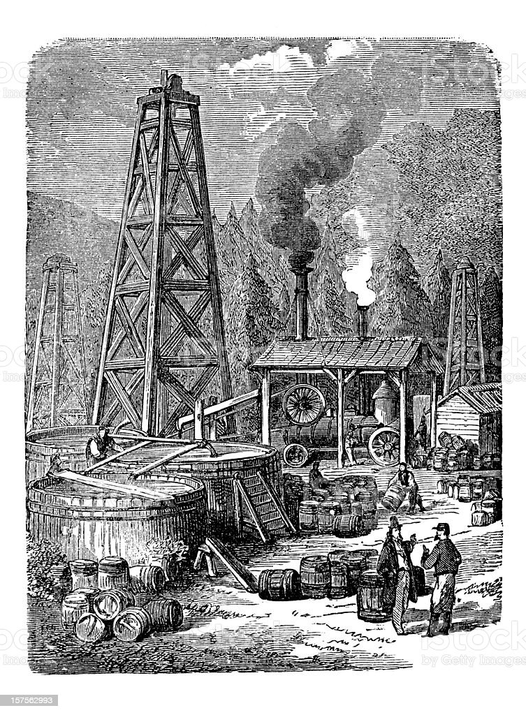 Engraving of oil rig in United States 1882 vector art illustration
