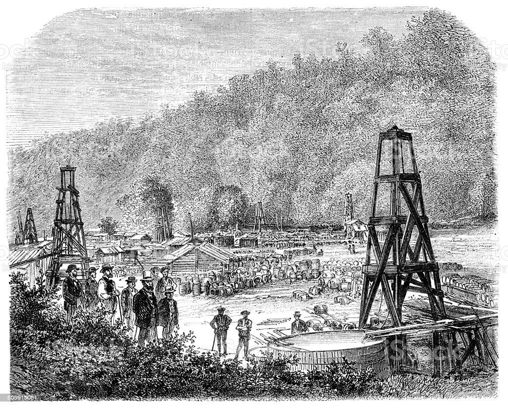 Engraving of oil rigs in Philadelphia Pennsylvania United State vector art illustration