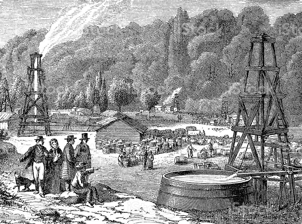 Engraving of oil rigs in United States 1870 vector art illustration