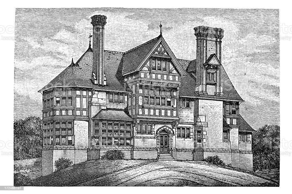 Engraving of old english house from 1879 royalty-free stock vector art
