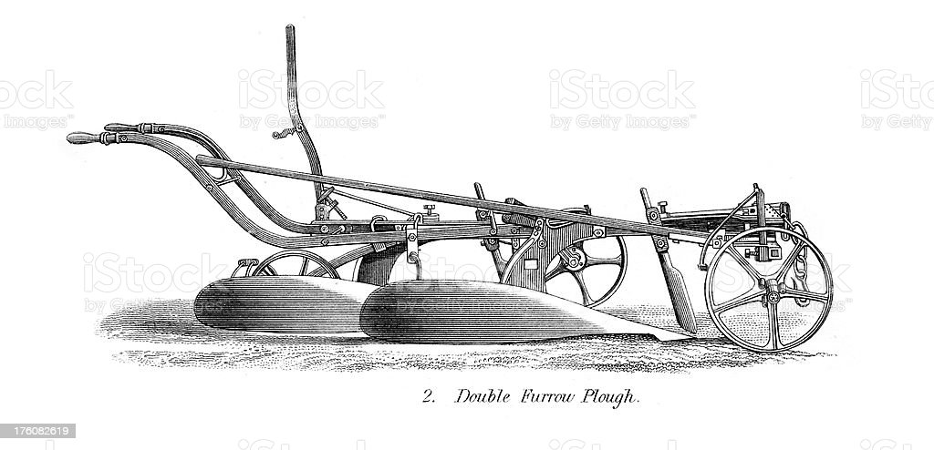 Engraving of old ploughs - Agricultural Machinery royalty-free stock vector art