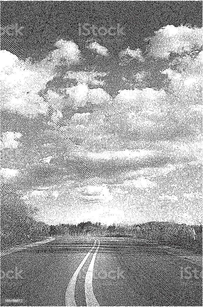 Engraving of Open Road vector art illustration