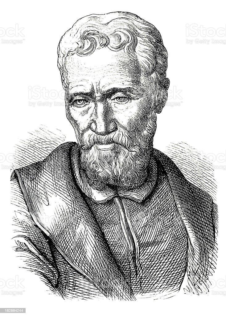 Engraving of painter Michelangelo from 1870 vector art illustration