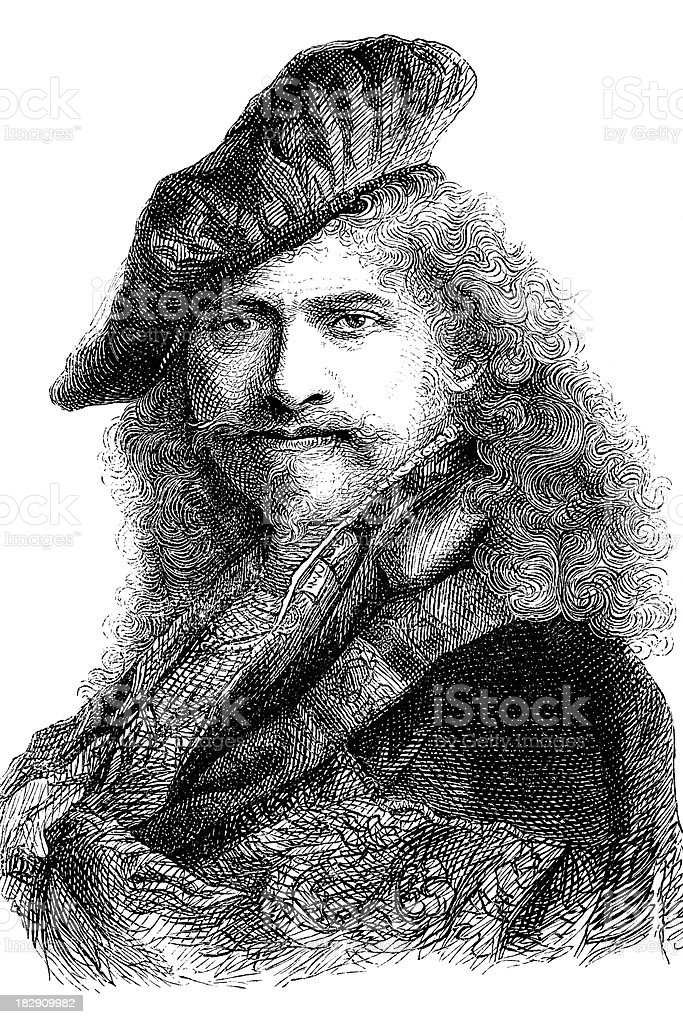 Engraving of painter Rembrandt from 1870 royalty-free stock vector art