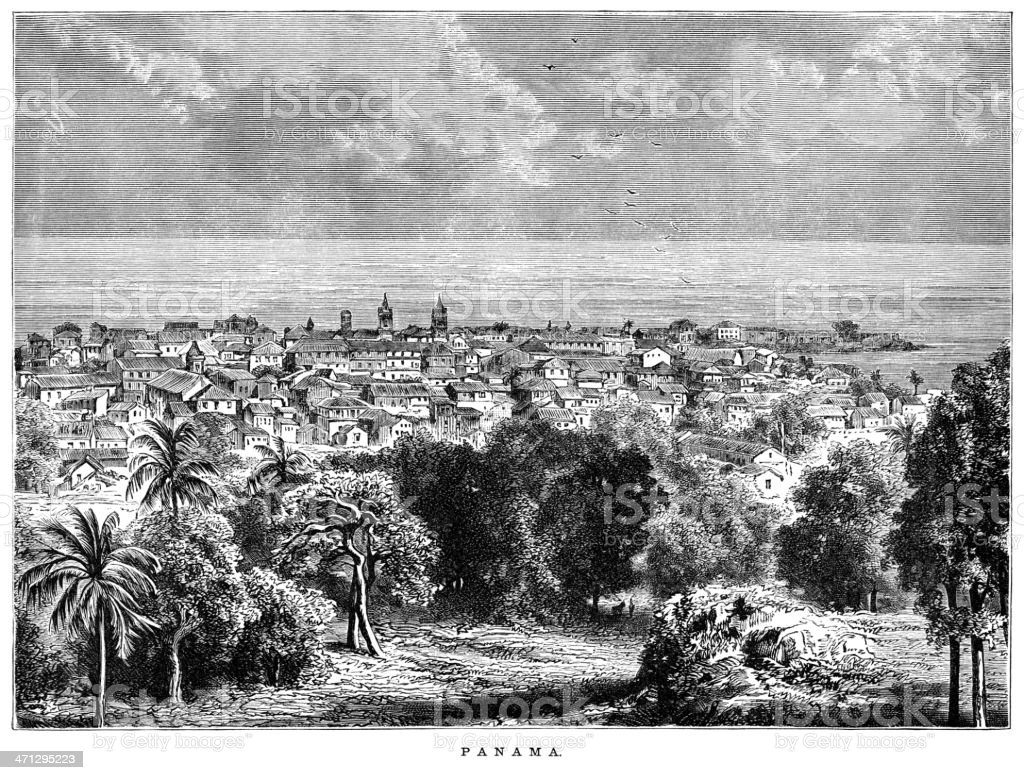 Engraving of Panama (1882) vector art illustration