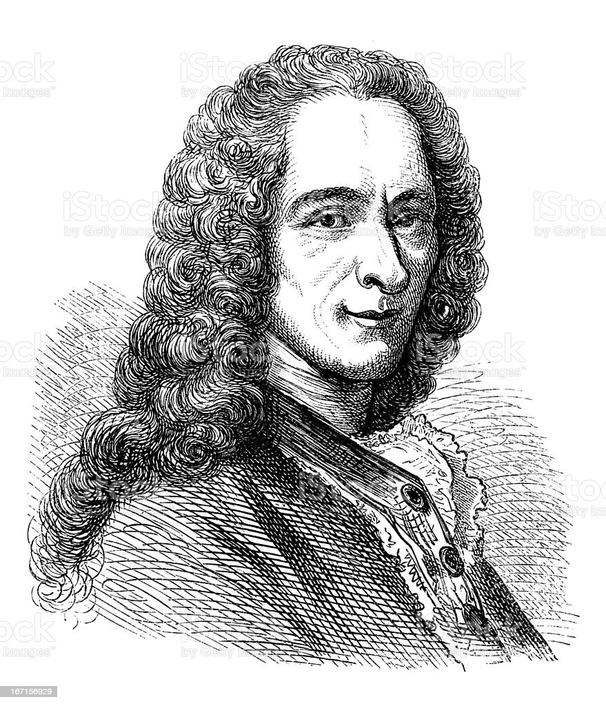 Engraving of philosopher and writer Voltaire from 1870 vector art illustration