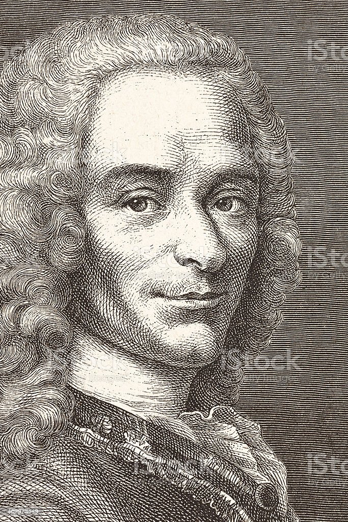 Engraving of philosopher and writer Voltaire from 1881 vector art illustration