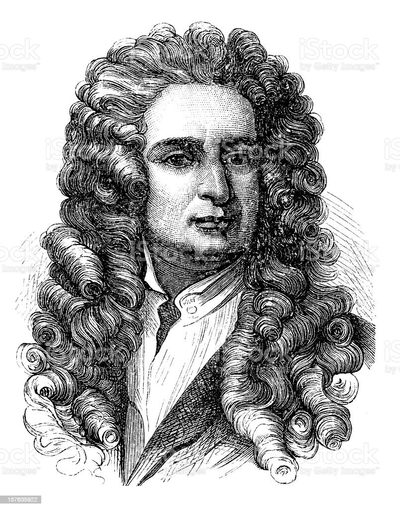 Engraving of physicist Isaac Newton from 1870 vector art illustration