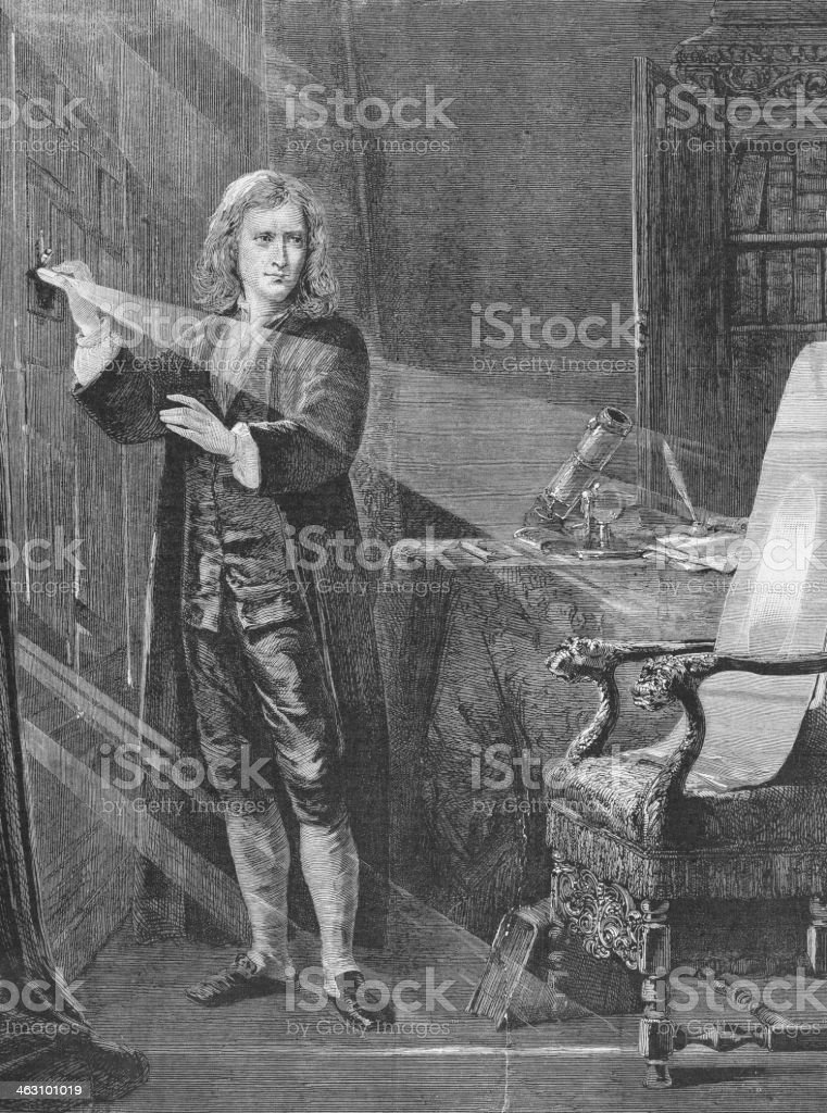 Engraving of physicist Isaac Newton from 1881 vector art illustration