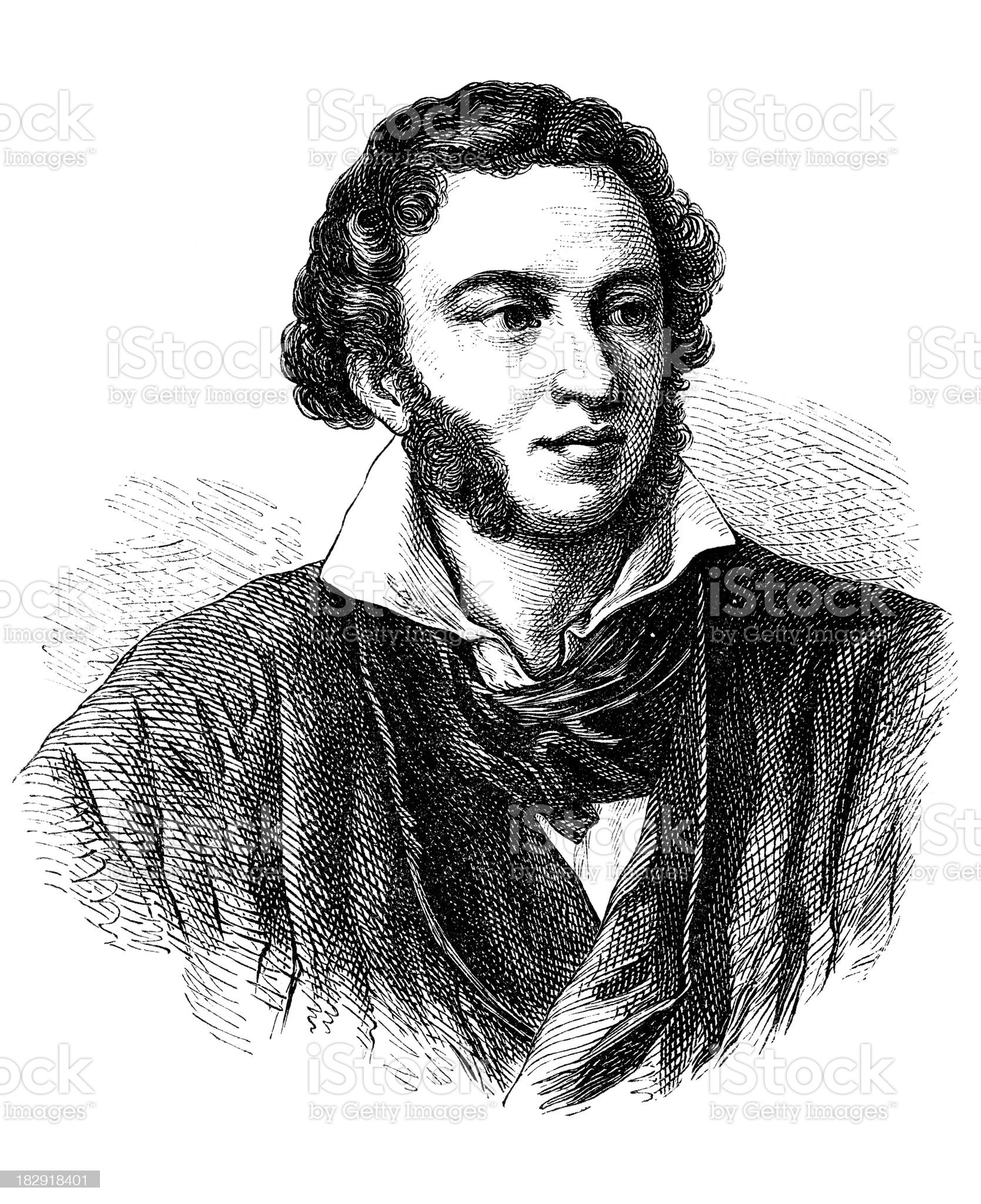 Engraving of poet Alexander Puschkin from 1870 royalty-free stock vector art