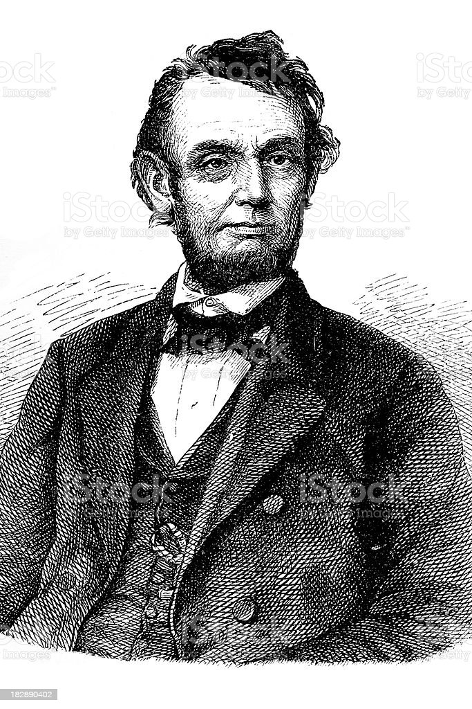 Engraving of president Abraham Lincoln from 1870 vector art illustration