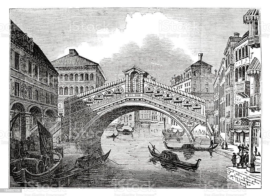 Engraving of Rialto Bridge over Canal Grande in Venice Italy vector art illustration
