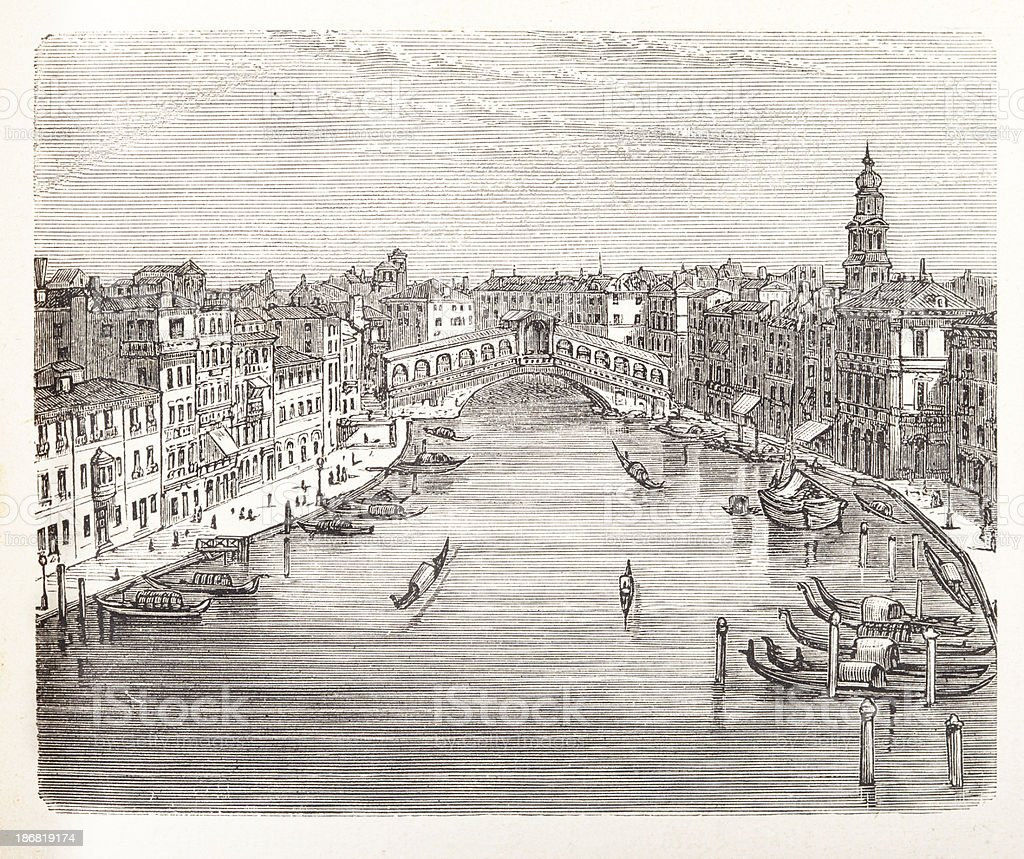 Engraving of Rialto Bridge over Canal Grande in Venice, Italy royalty-free stock vector art