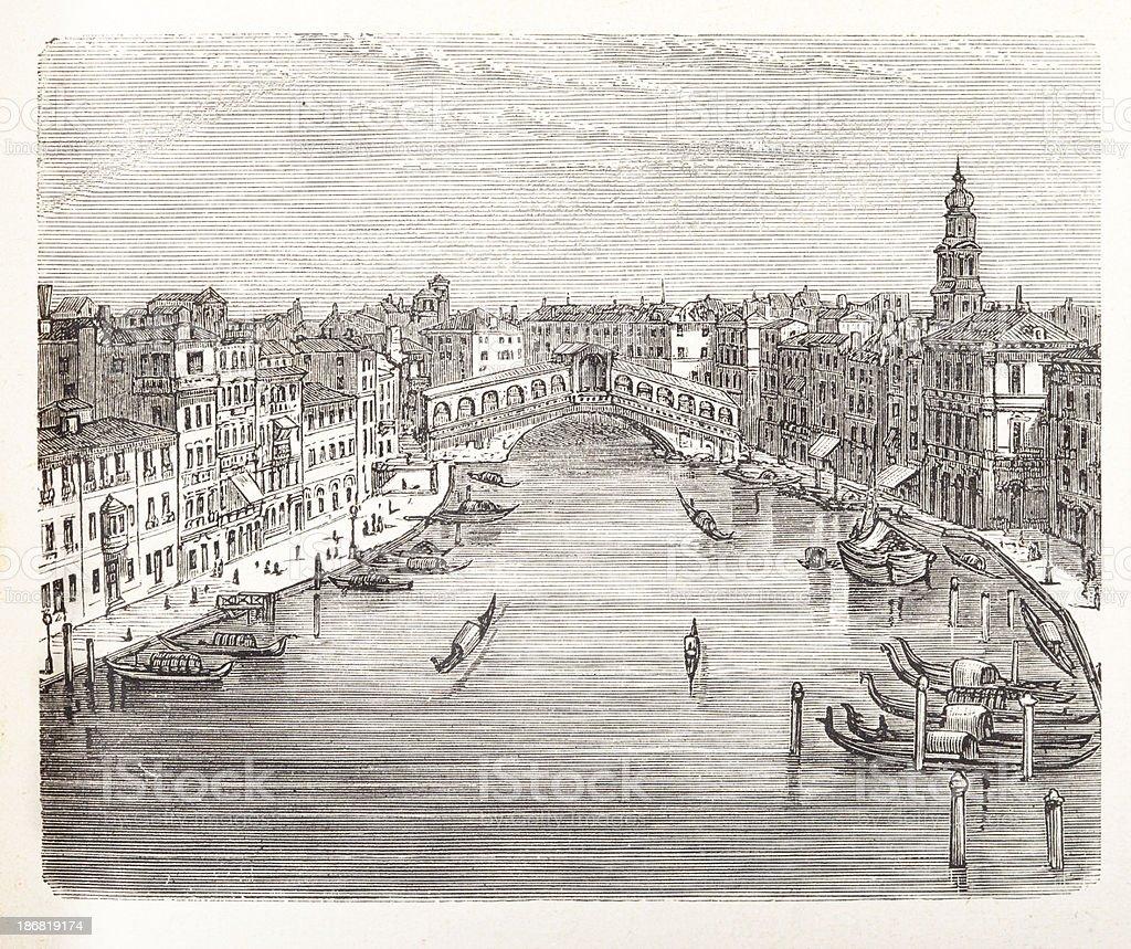 Engraving of Rialto Bridge over Canal Grande in Venice, Italy vector art illustration
