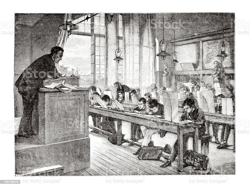 Engraving of school teacher and pupils in classroom from 1875 vector art illustration